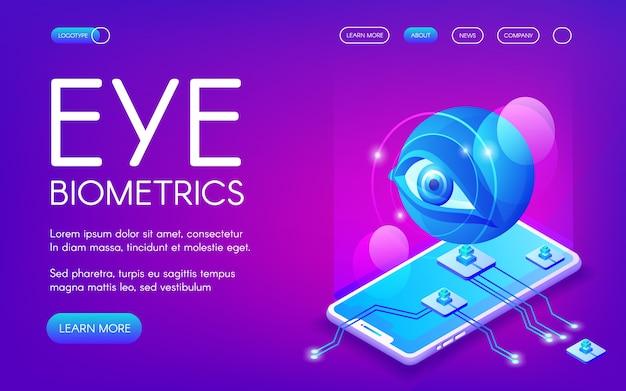 Eye biometrics technology illustration for\ personal identity authentication.