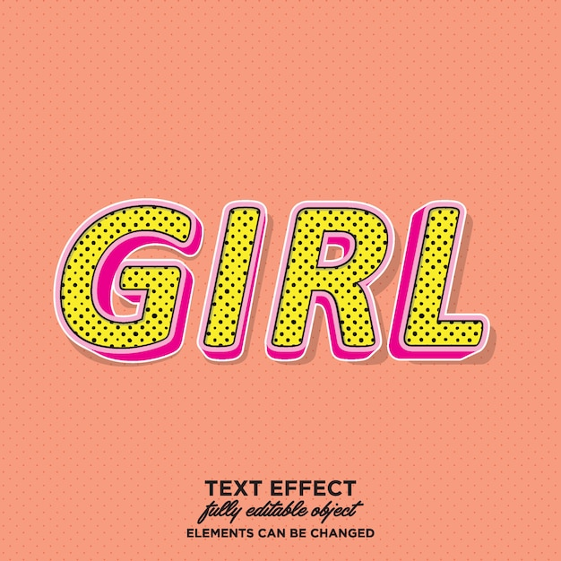 Eye catching girly text style Premium Vector
