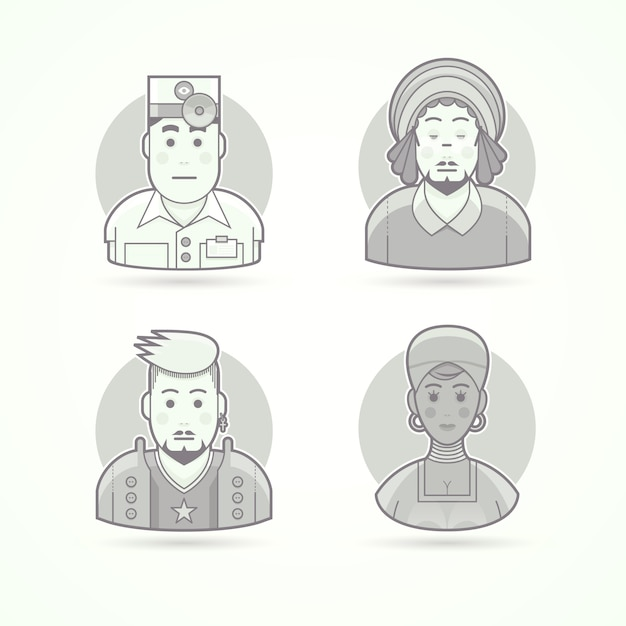 Eye doctor, rastaman, rock music fan, african woman. set of character, avatar and person  illustrations.  black and white outlined style. Premium Vector