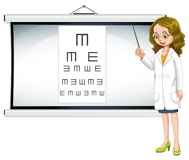 Eye doctor and reading chart Free Vector
