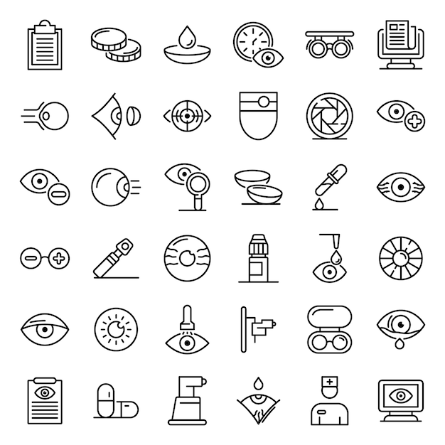 Eye examination icons set, outline style Premium Vector