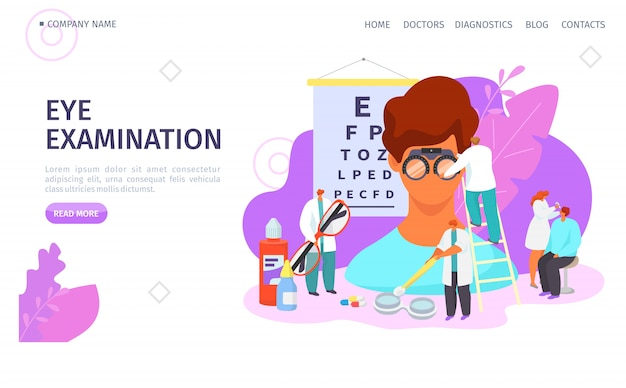 Eye examination, ophthalmologist landing vector illustration. doctor test patient eyesight, vision treatment with drops Premium Vector