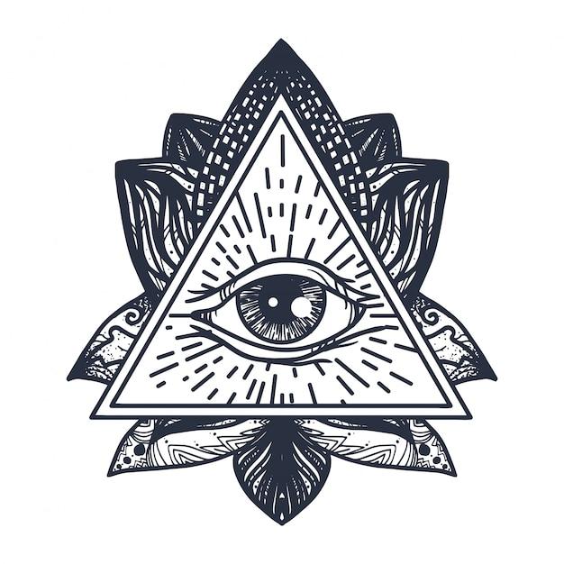 Eye on lotus tattoo Premium Vector