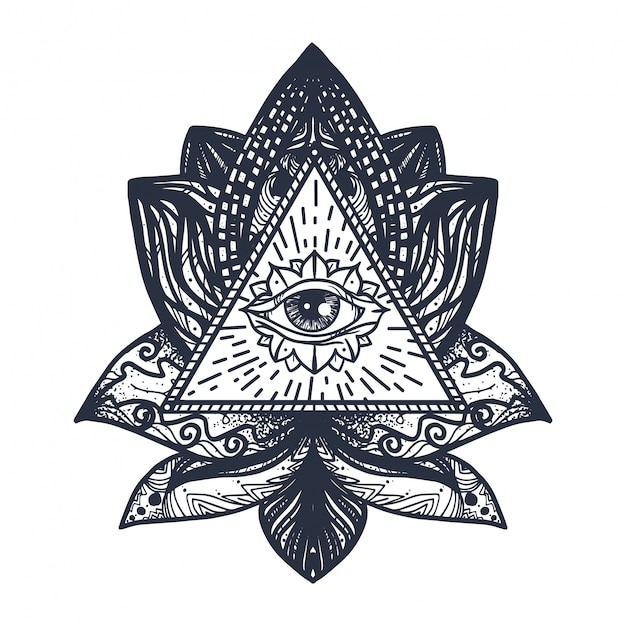 Eye on lotus tattoo Premium векторы