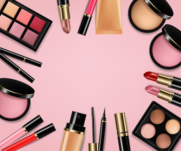 Eye shadow, lip gloss and powder blush background Premium Vector
