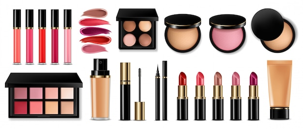 Eye shadow, lip gloss and powder blush collection Premium Vector