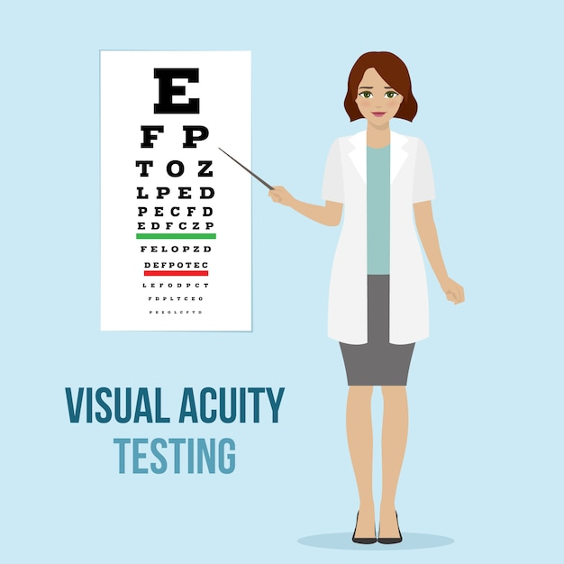 Eye vision test at an ophthalmologist, eyesight acuity diagnostic for medical board Premium Vector