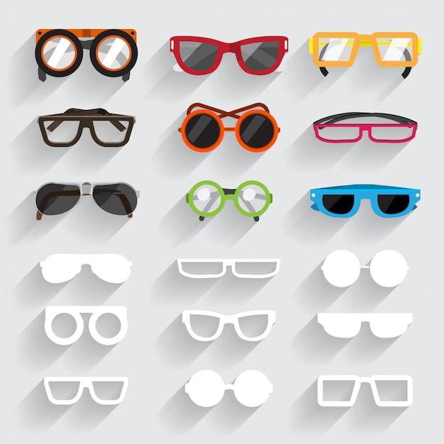 眼鏡vecterセットアイコンと白い素材ling sghadow Premiumベクター