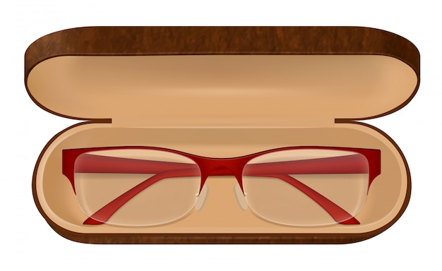 Eyeglasses in case illustration Free Vector
