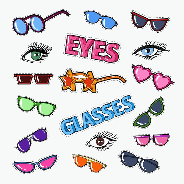 サングラスと目で眼鏡をかける Premiumベクター