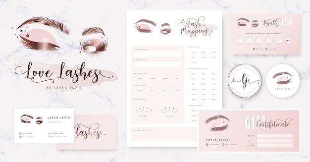 Eyelash branding with logo, business card