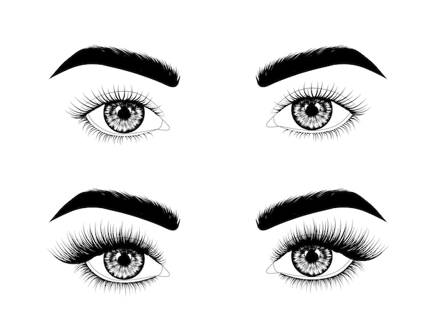 Eyelash extensions before and after Premium Vector