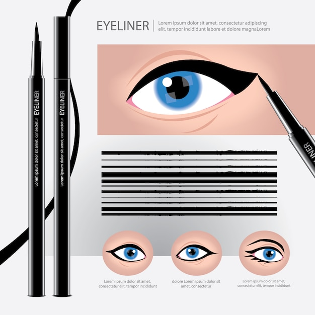 Eyeliner packaging with types of eye makeup Premium Vector