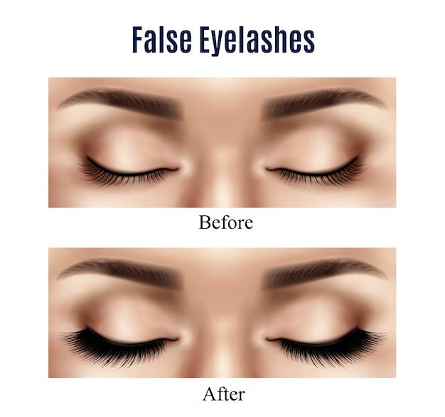Eyes false lashes realistic illustration Free Vector