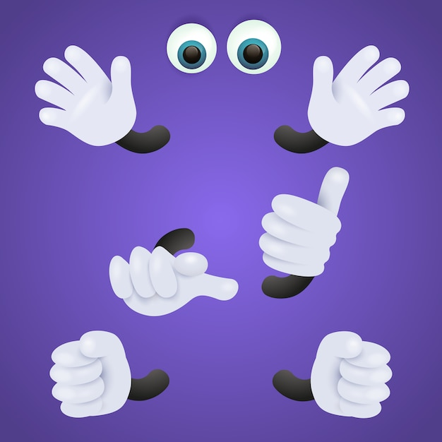Eyes and gloved hands of personage Free Vector