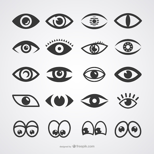 Eyes icons collection Premium Vector