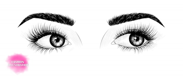 Eyes, looking to the side Premium Vector