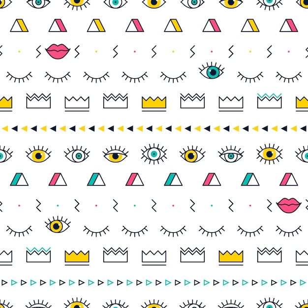 Eyes pattern with lips, crown and geometric shapes in memphis style. Premium Vector