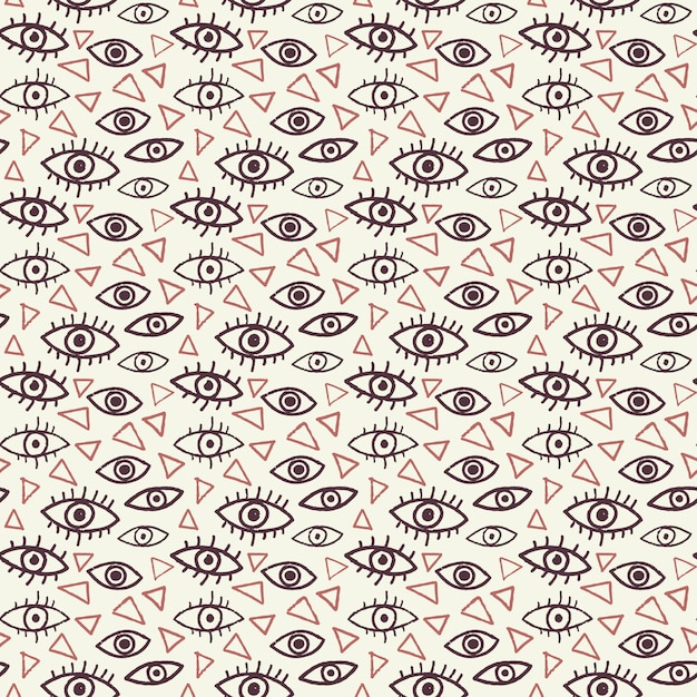 Eyes seamless pattern in doodle style Premium Vector