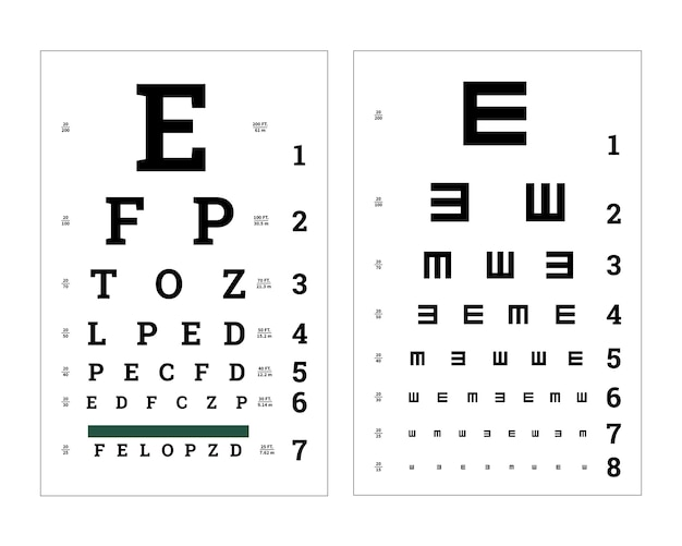 Eyes test charts with latin letters Premium Vector