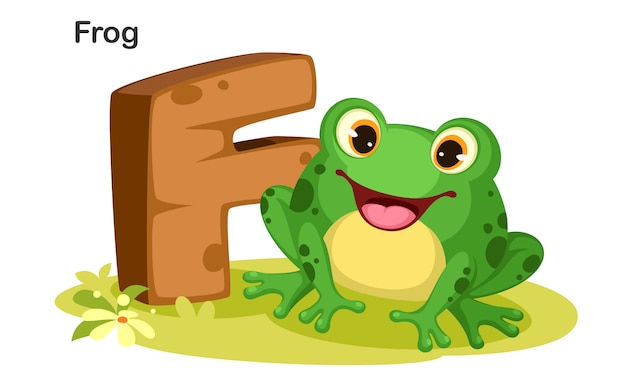 F for frog Premium Vector