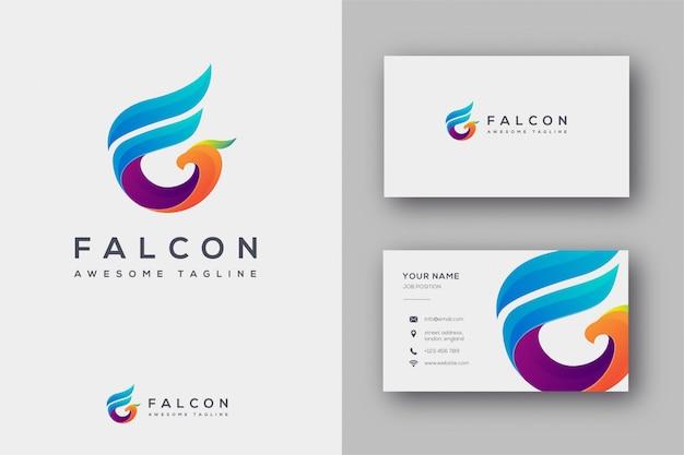 Falconロゴと名刺の頭文字f Premiumベクター