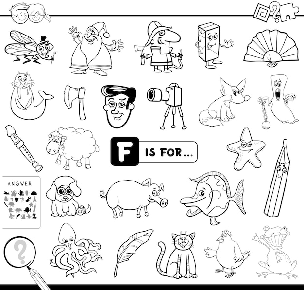 F is for educational game coloring book Premium Vector