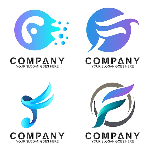 F logo design collection Premium Vector