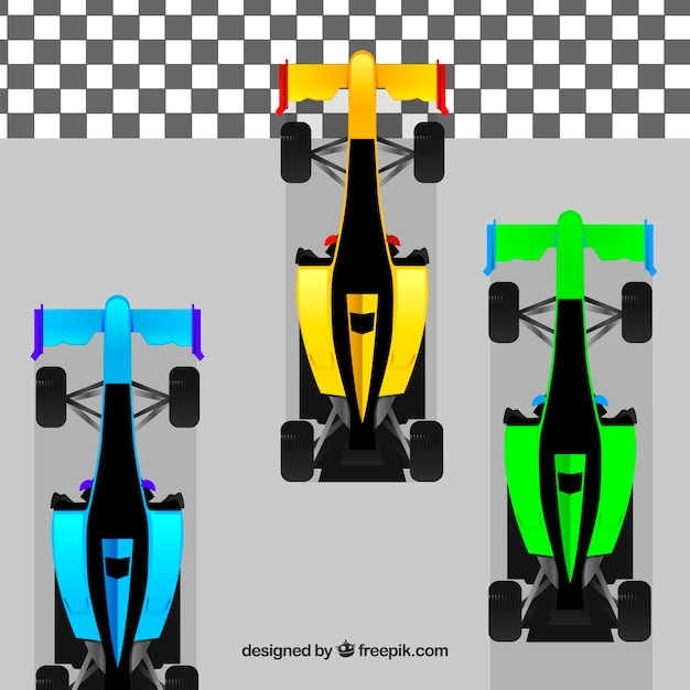 F1 racing cars of different colors crossing finish line Free Vector