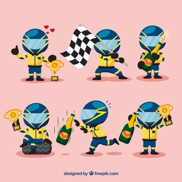 F1 racing character set Free Vector