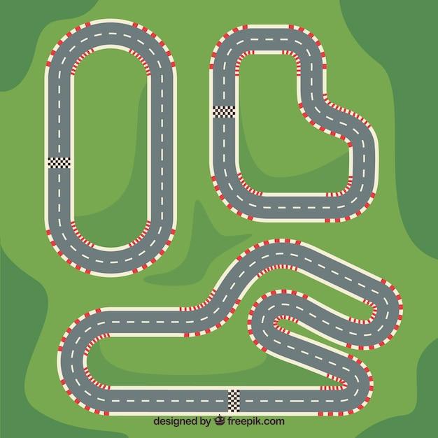 F1レーシングトラックのコレクション 無料ベクター
