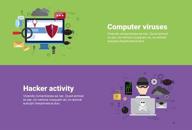 ハッカー活動コンピュータウイルスデータ保護プライバシーインターネット情報セキュリティウェブバナーf1 Premiumベクター