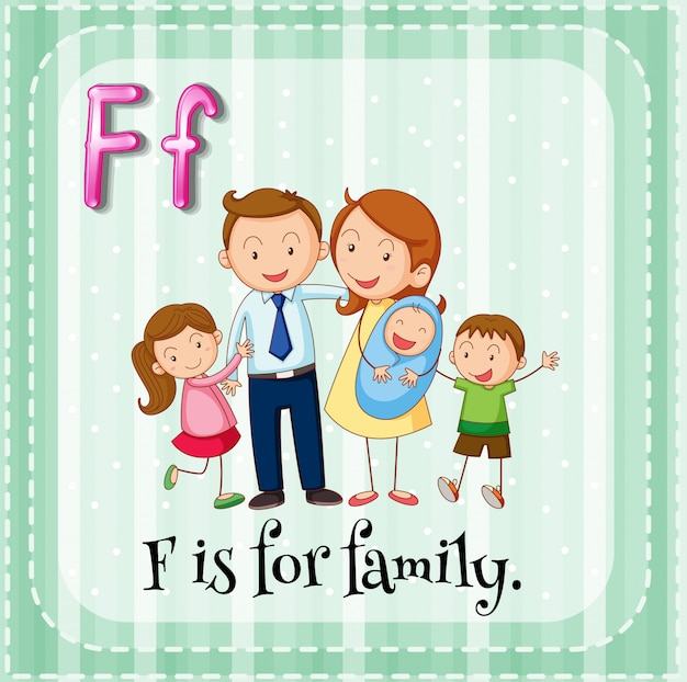 Карточка буква f для семьи Бесплатные векторы
