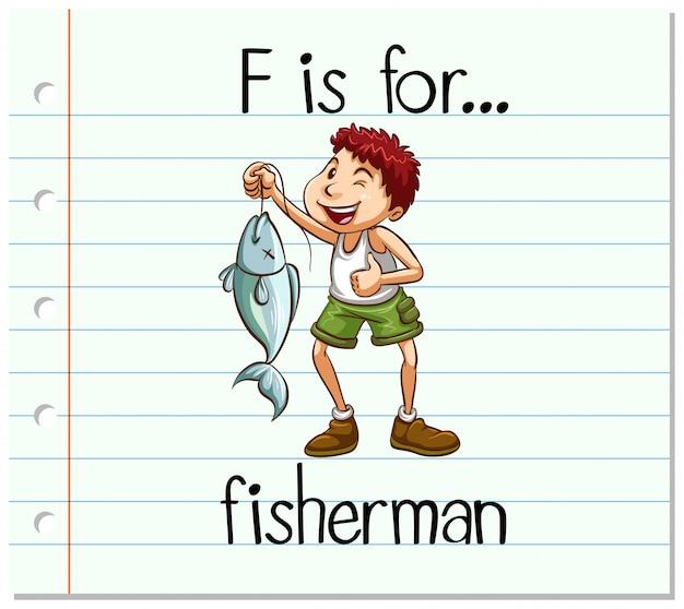 Карточка буква f для рыбака Бесплатные векторы
