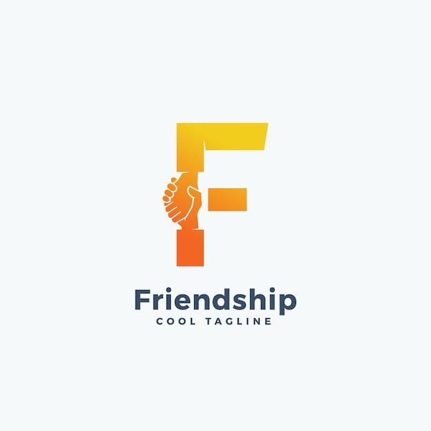 Абстрактный знак дружбы, символ или шаблон логотипа. дрожание рук, включенных в букву f. концепция. Premium векторы