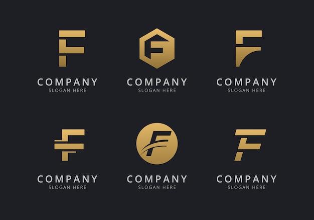 Шаблон логотипа инициалы f с золотистым стилем для компании Premium векторы
