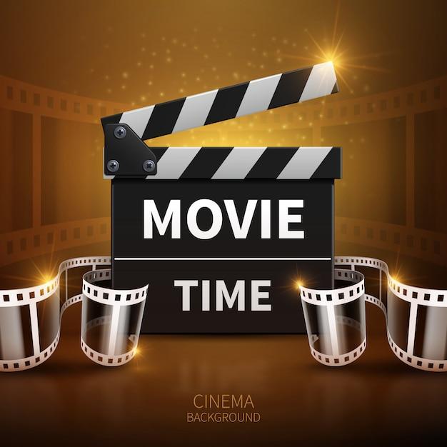 オンライン映画とテレビの映画クラッパーとフィルムロールのベクトルの背景。 f用クラッパーボード Premiumベクター