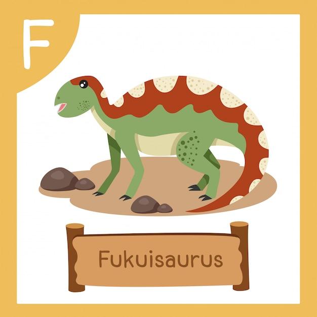 恐竜フクイサウルスのfのイラストレーター Premiumベクター