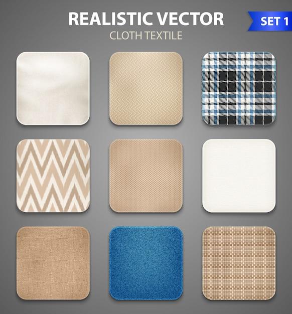 Set realistico di campioni quadrati di tessuto Vettore gratuito