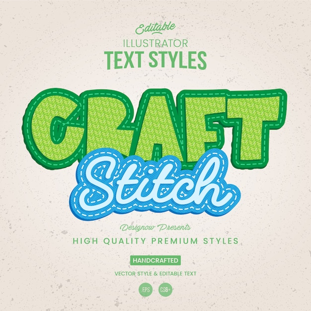 Fabric and stich text style Premium Vector