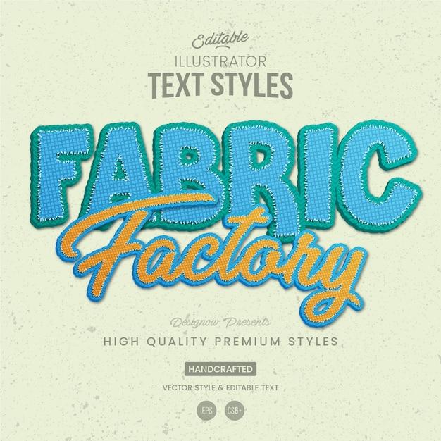 Fabric text style Premium Vector