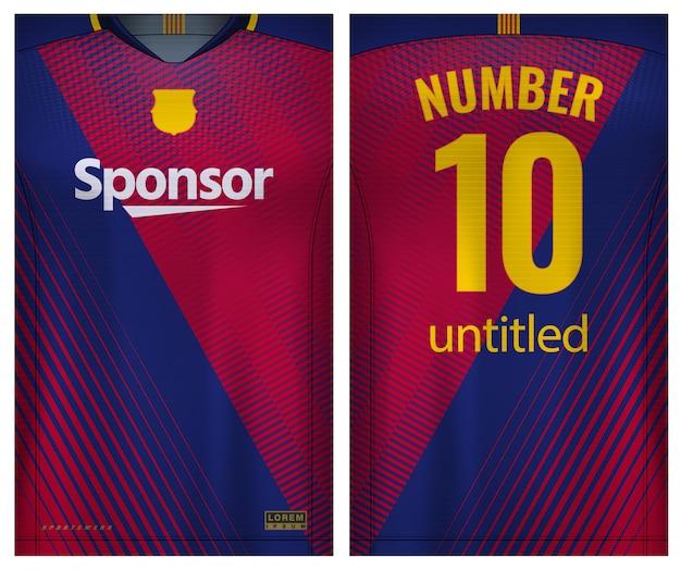 Ткань текстильная для футболки sport, футбольный трикотаж для футбольного клуба. равномерный вид спереди и сзади. Premium векторы