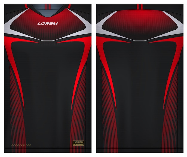 Fabric textile for sport t-shirt ,soccer jersey   for football club. uniform front and back view. Premium Vector