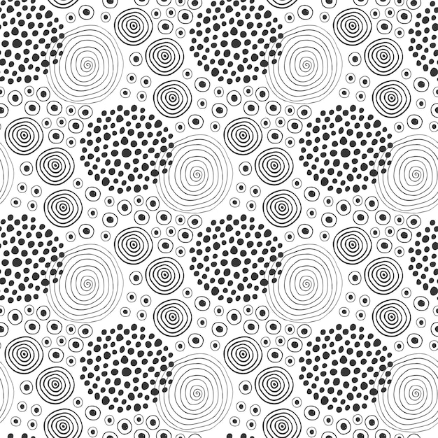 Fabric Texture Fashion Seamless Pattern Textile Design Ethnic Background With Circles Premium Vector