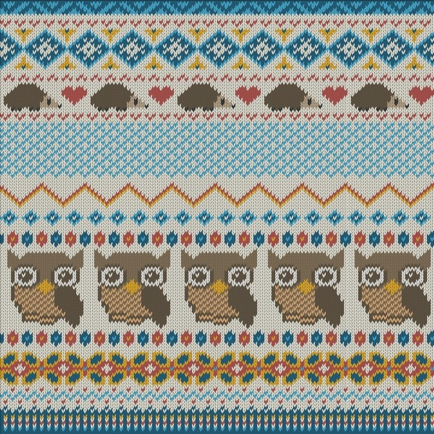 Fabric texture with owls Free Vector