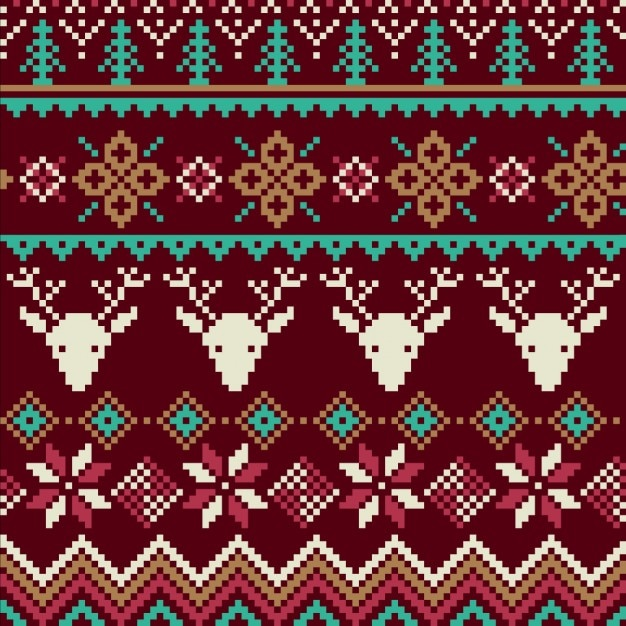 Fabric texture with reindeer and snowflakes Free Vector