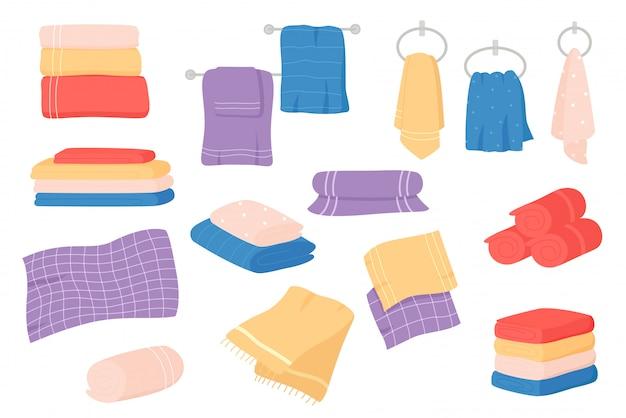 Fabric towels set. cloth towel for bath, hygiene. bathroom textile cartoon. Premium Vector