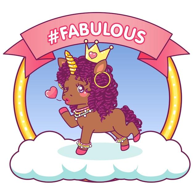 Fabulous afro unicorn that winks sending a kiss Premium Vector