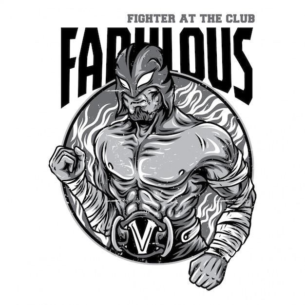 Fabulous fighter black and white illustration Premium Vector