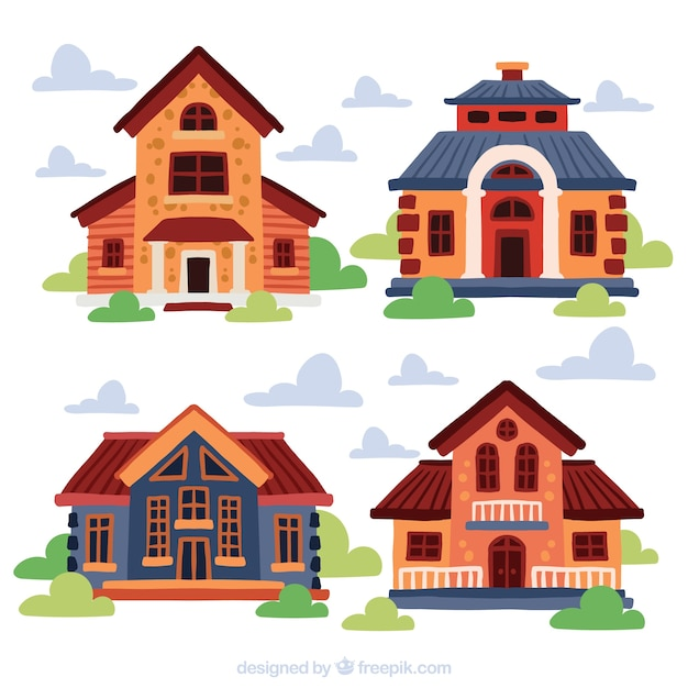Facades of houses painted set